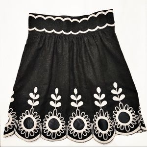 Tibi NY Wool Full Skirt 4 Black Floral Embroidery